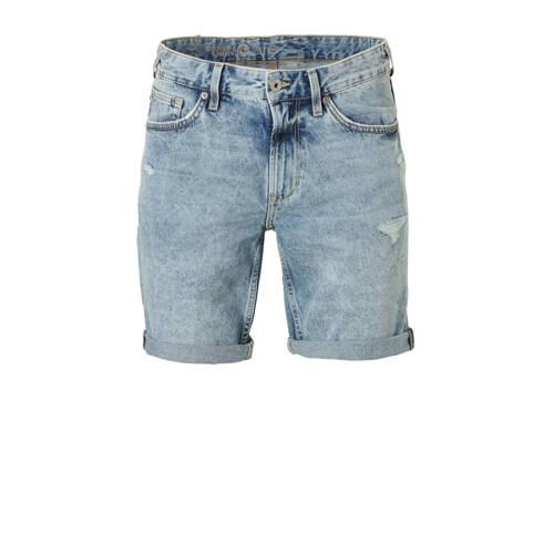 slim fit jeans short met slijtage