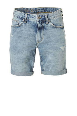 Angelo Litrico slim fit jeans short met slijtage