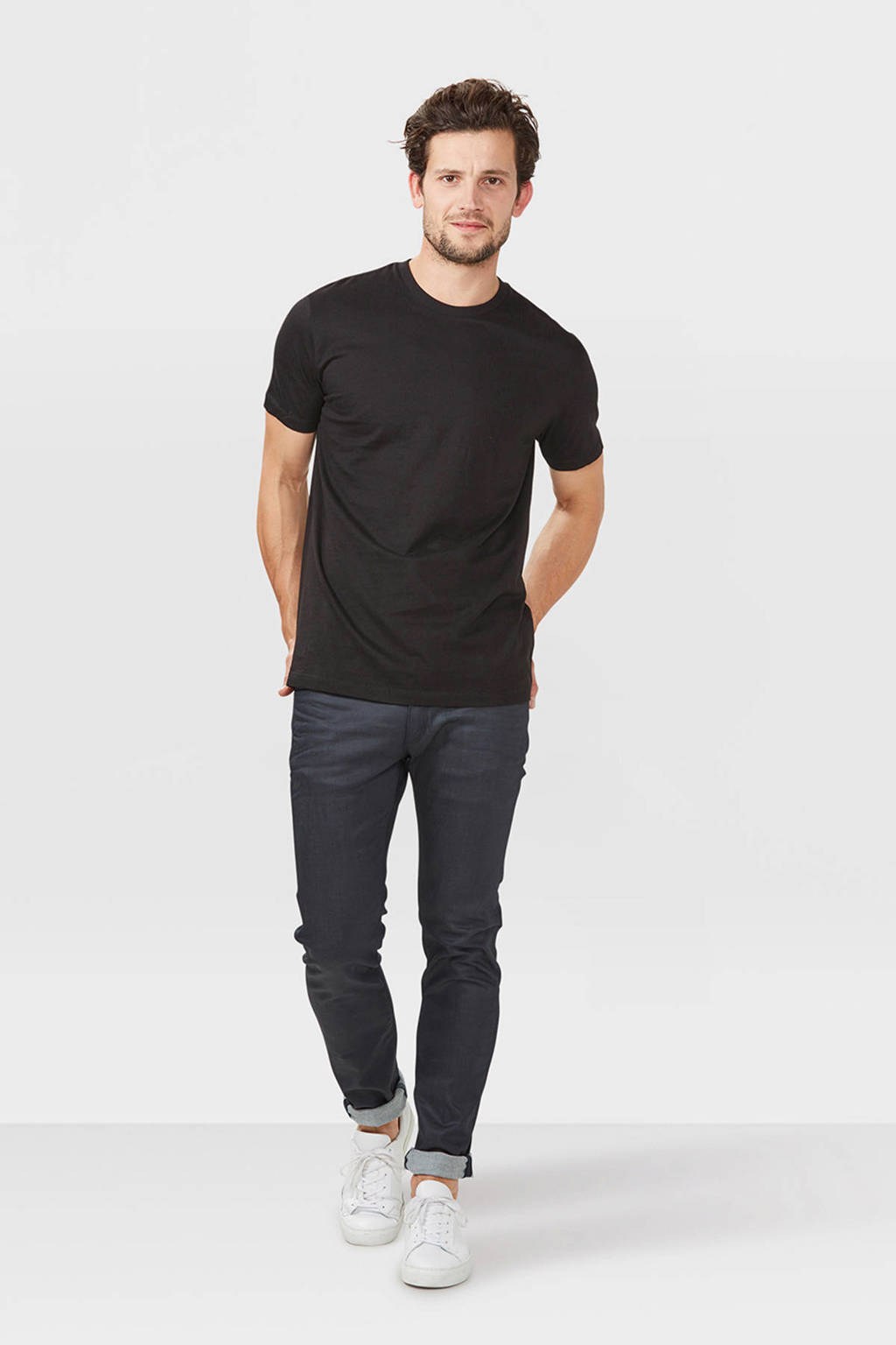 WE Fashion Fundamental basic T-shirt zwart, Zwart
