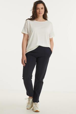straight fit broek van travelstof donkerblauw