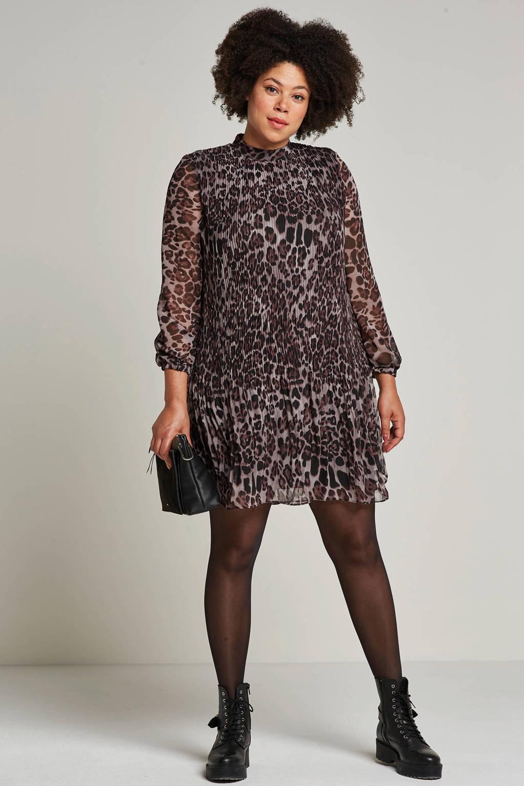 Zoey jurk met luipaardprint, Zwart/paars/bruin