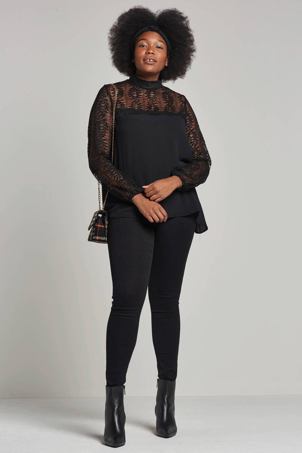 Zoey blouse met kant, Zwart