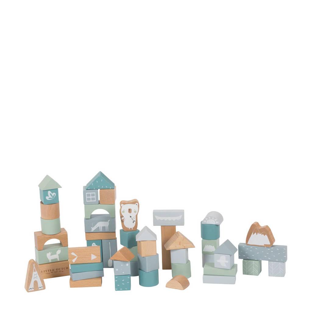 Little Dutch houten blokken blauw 50 stuks, Blauw