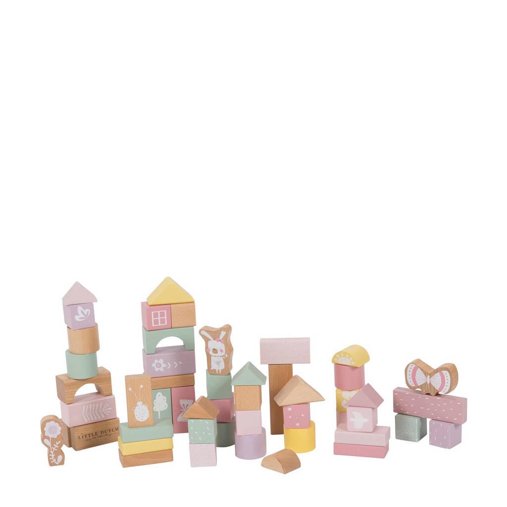 Little Dutch houten blokken roze 50 stuks, Roze