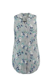 MS Mode mouwloze blouse met bloemen blauw (dames)