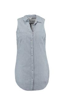 MS Mode mouwloze blouse met strepen blauw (dames)