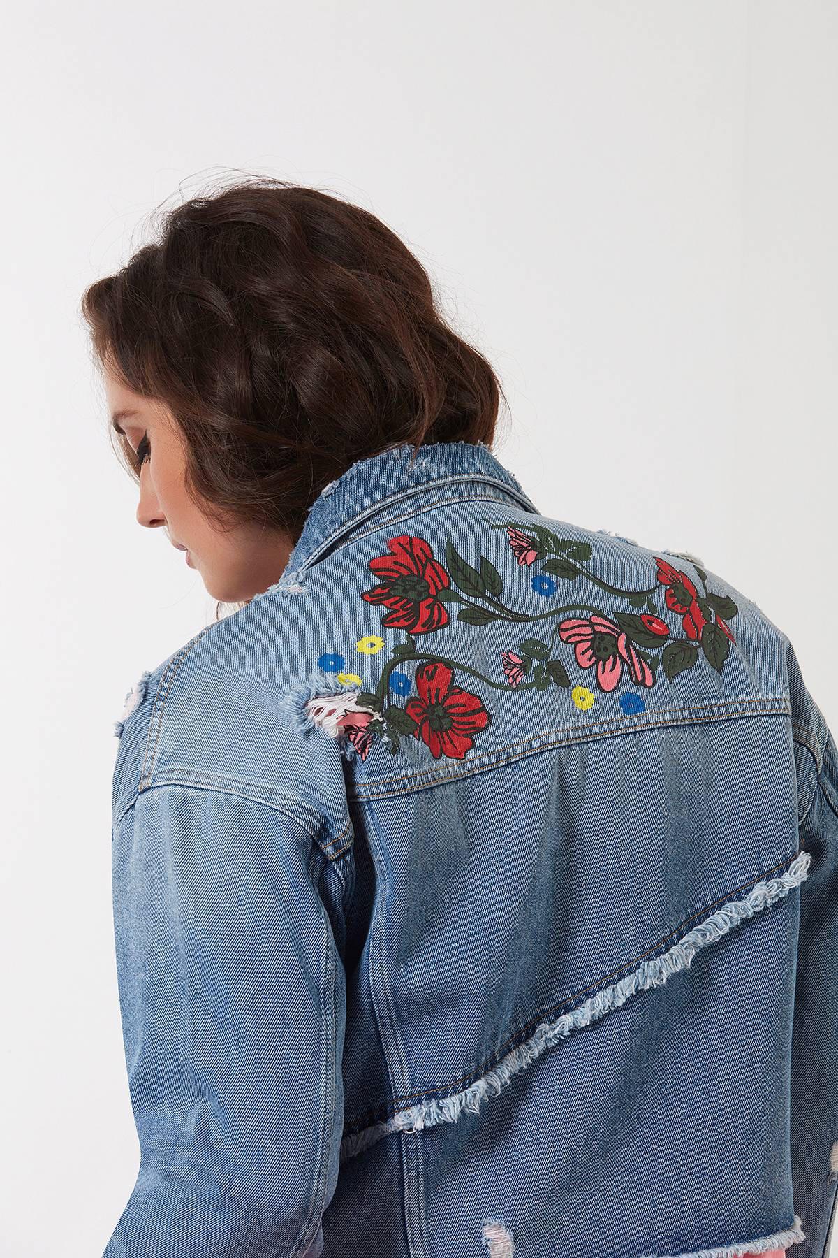 MS Mode spijkerjasje met bloemenprint | wehkamp