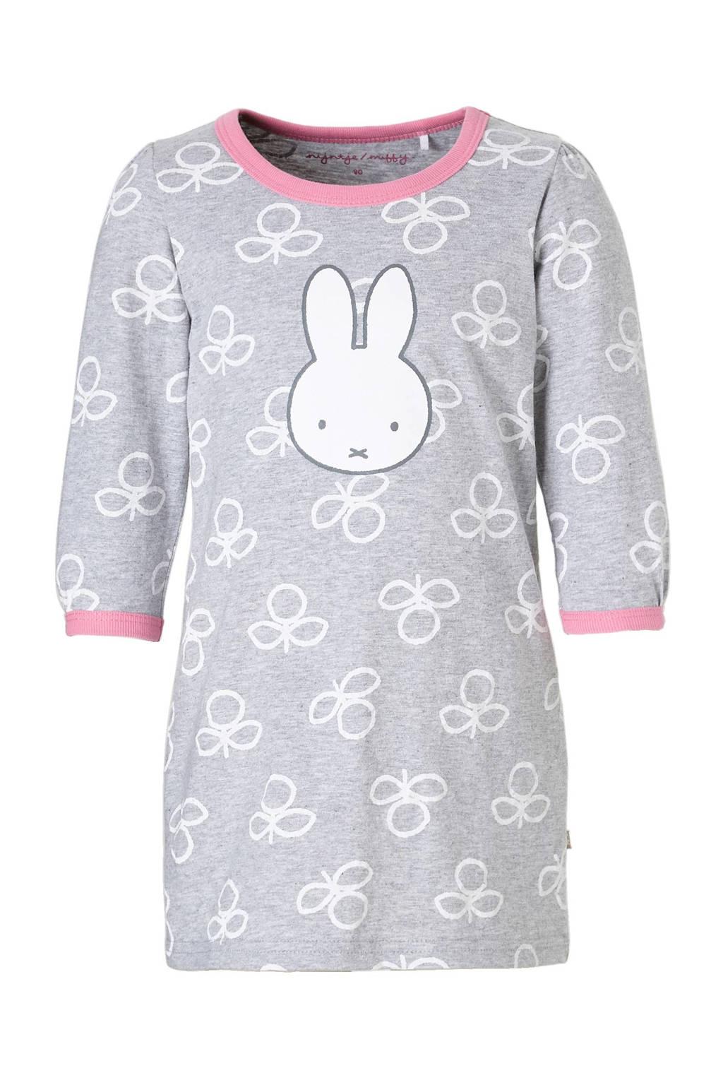 nijntje nachthemd grijs, Grijs/wit/roze