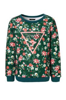 sweater met bloemen petrol
