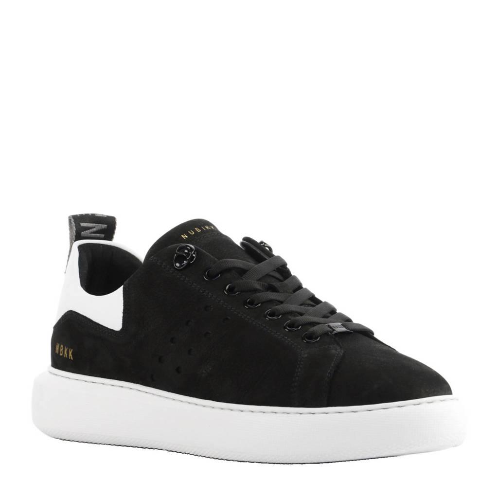 Nubikk   nubuck sneakers Scott zwart, Zwart/wit