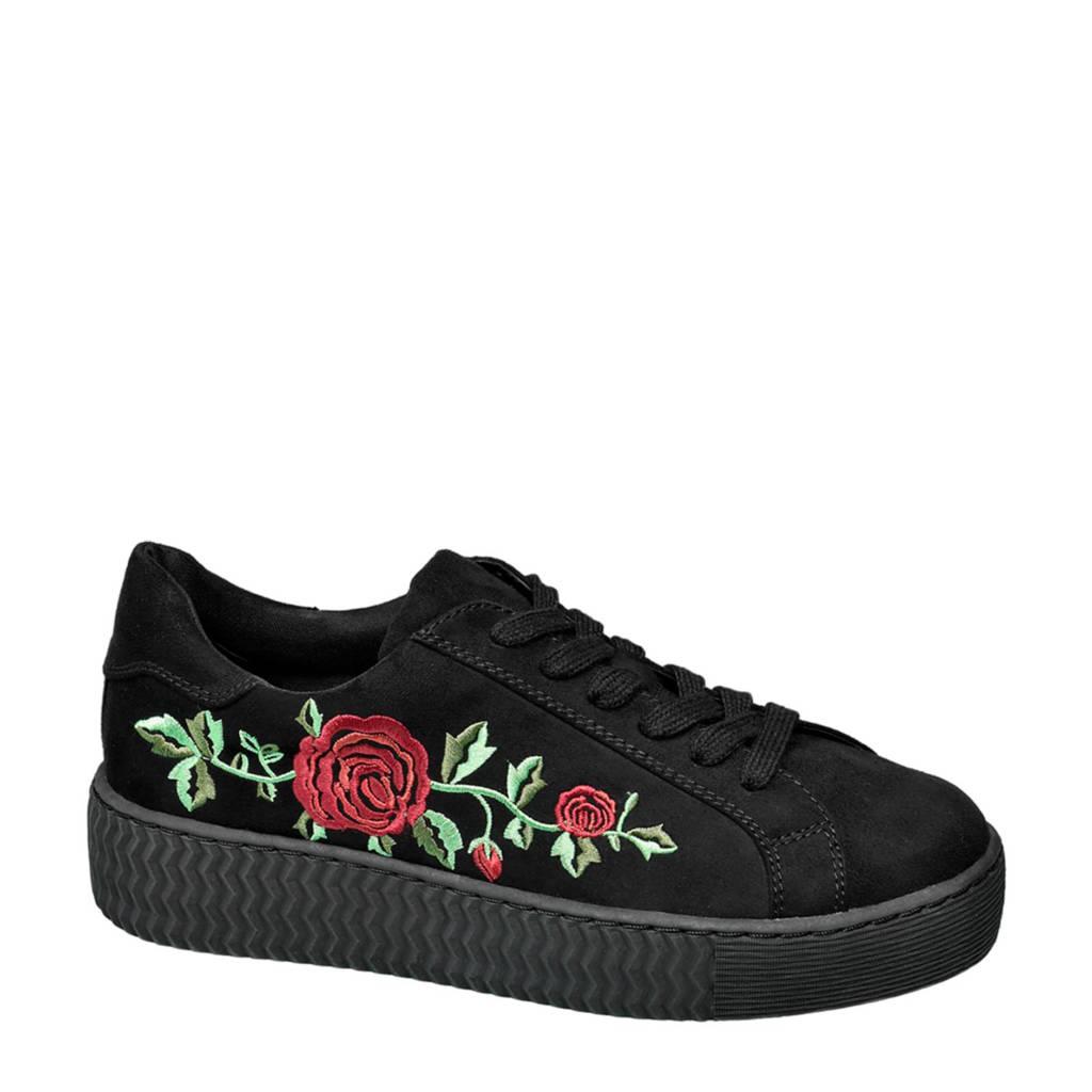 vanHaren Graceland  sneakers met borduursels zwart, Zwart