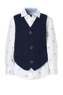Palomino overhemd + gilet donkerblauw