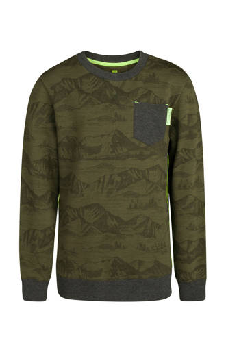 sweater met all-over print groen