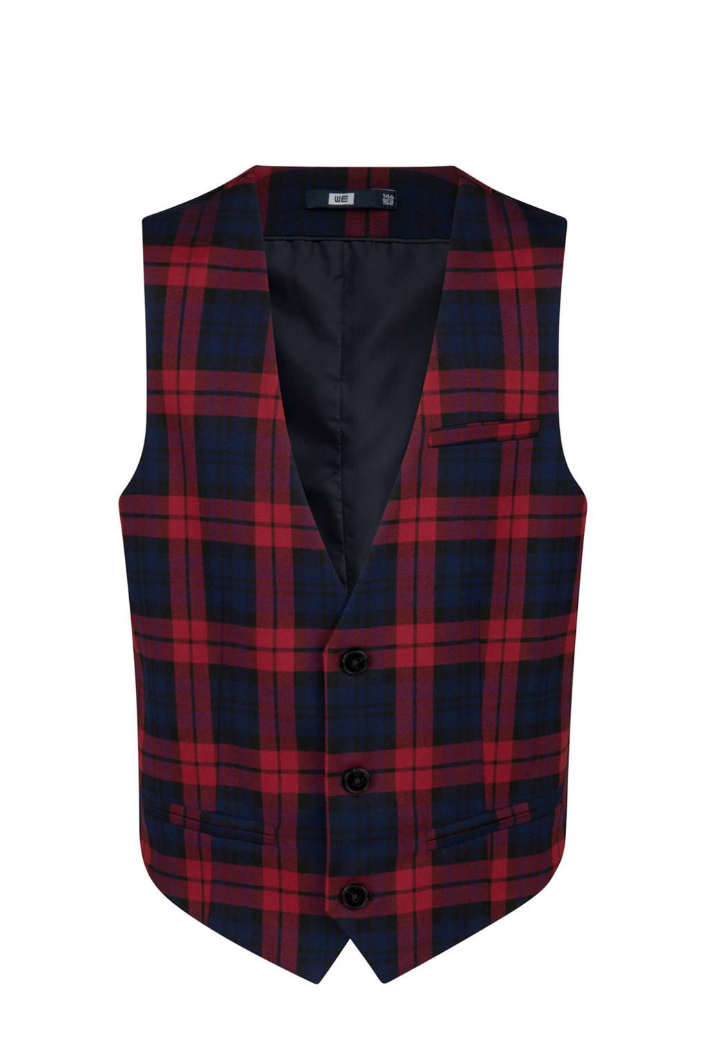 WE Fashion geruit gilet rood, rood/ zwart