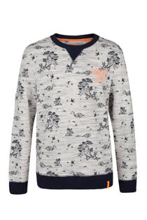 WE Fashion sweater met all over print lichtgrijs (jongens)