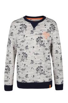 sweater met all over print lichtgrijs