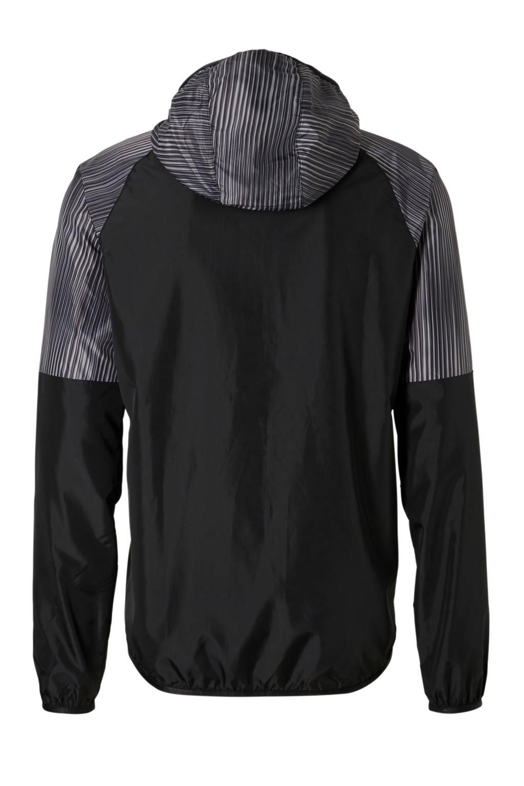 Mizuno sportjack waterafstotend zwart, Zwart/grijs/rood