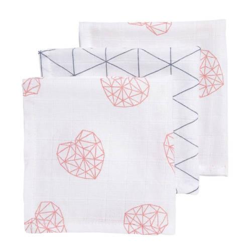 Meyco hydrofiele monddoekjes 30x30 cm (3 stuks) geometric heart/triangle