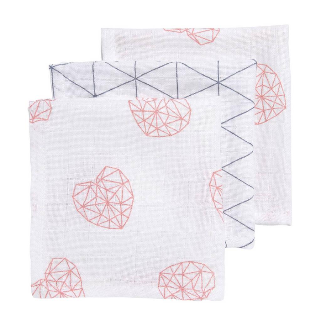Meyco hydrofiele monddoekjes 30x30 cm (3 stuks) geometric heart/triangle, Oudroze/grijs/wit