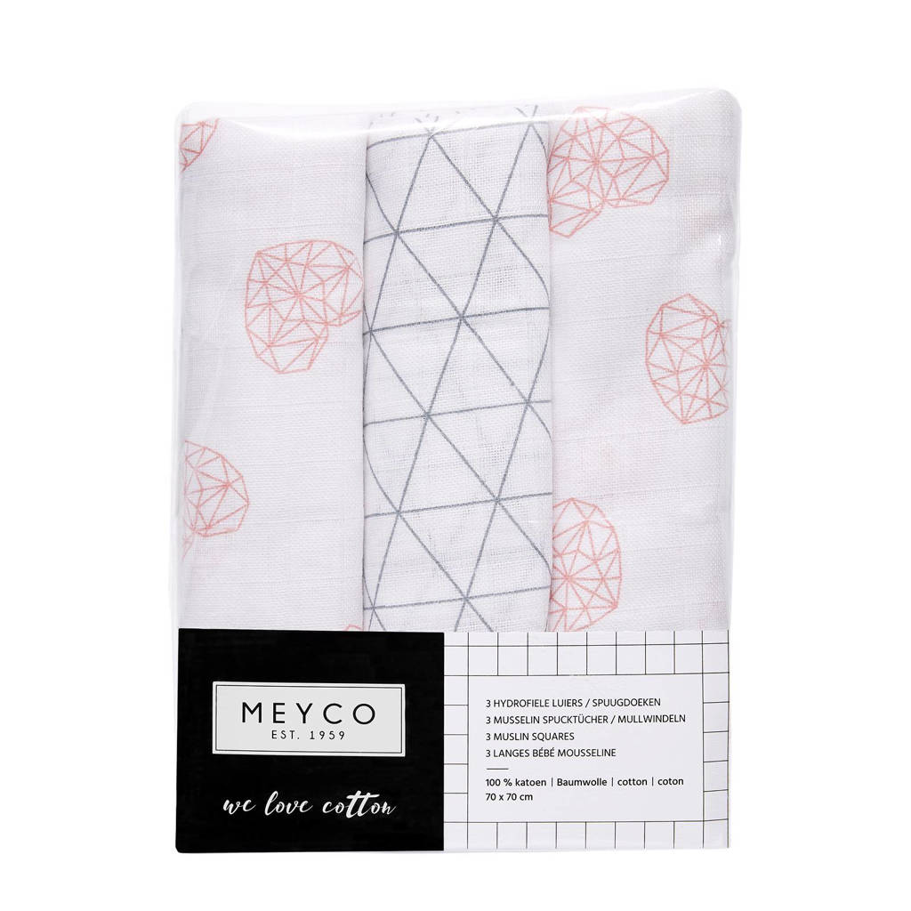 Meyco hydrofiele luiers 70x70 cm (3 stuks) geometric heart/triangle, Oudroze/grijs/wit
