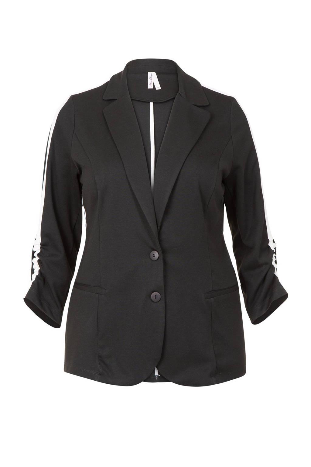 Miss Etam Plus straight fit blazer met zijstreep zwart, Zwart