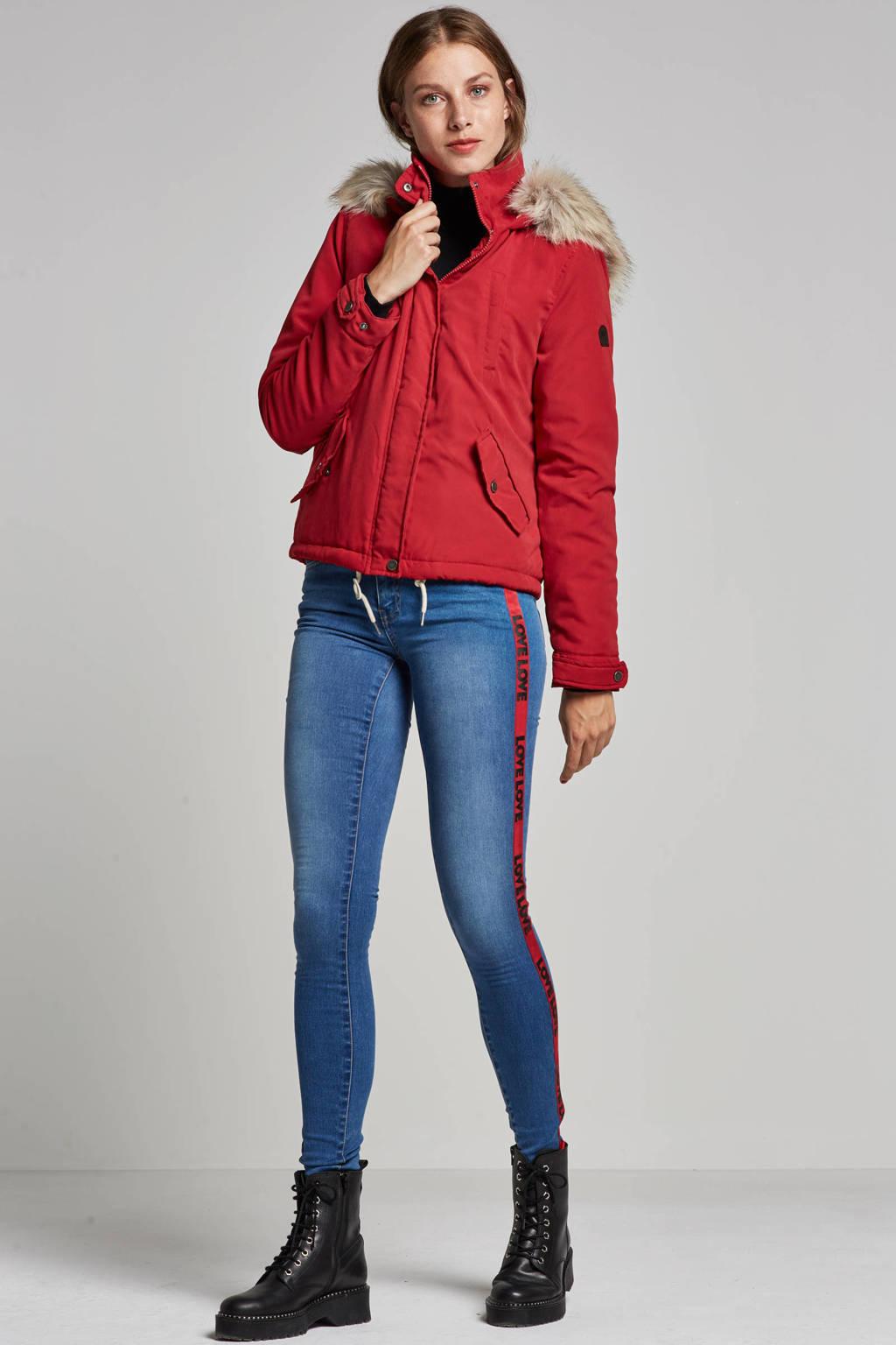 ONLY jeans met banden, Blauw/rood/zwart