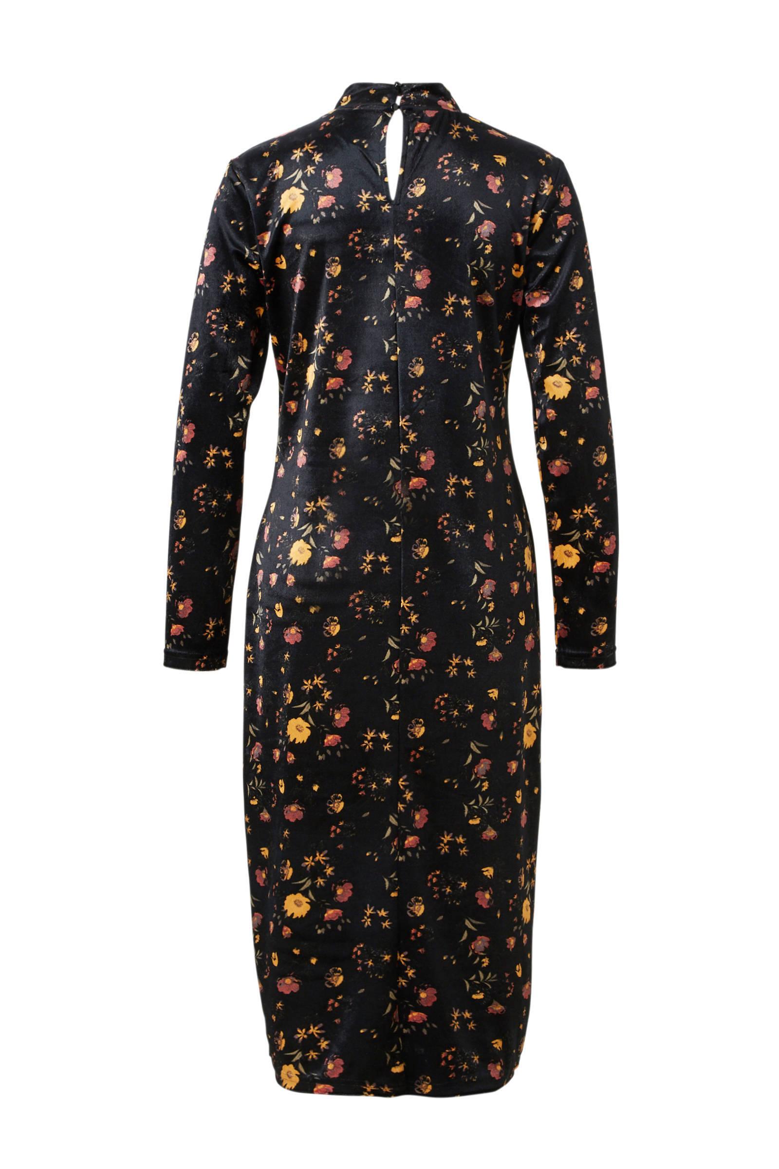 4f2daefaa86979 JACQUELINE DE YONG fluwelen jurk met bloemenprint