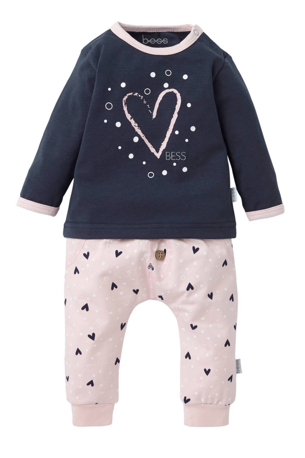 B.E.S.S newborn baby pyjama - set van 2, Roze