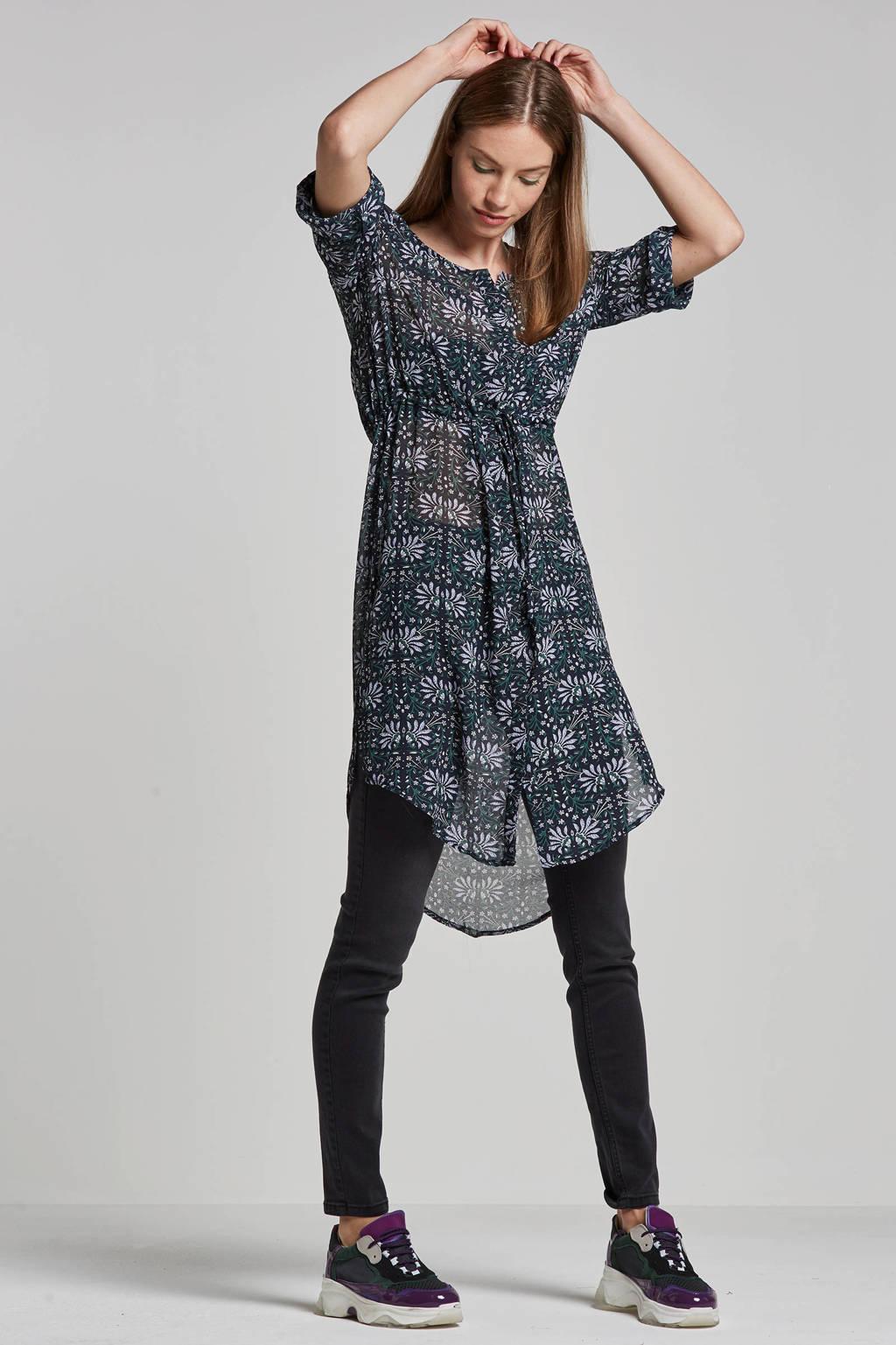OBJECT semi-transparante jurk met bloemenprint, Donkerblauw/groen/wit