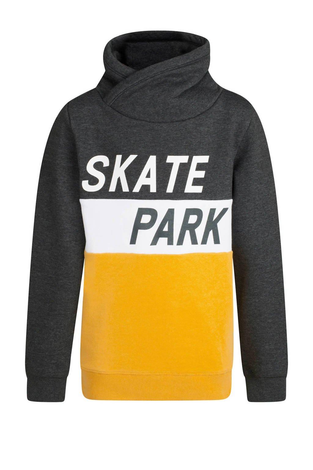 WE Fashion sweater met tekst grijs, Grijs/oker/wit