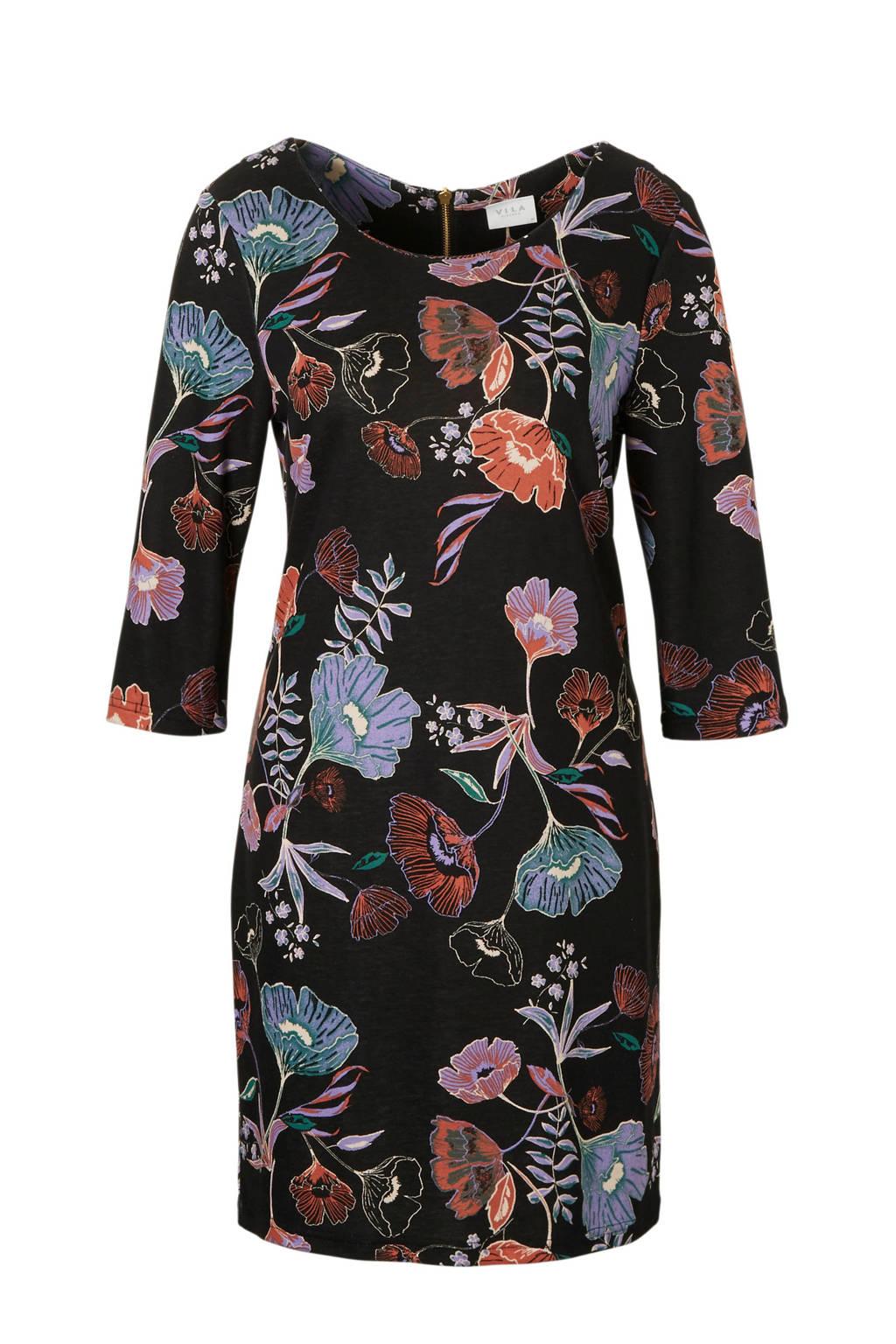 VILA gebloemde jurk, Zwart/blauw/roze