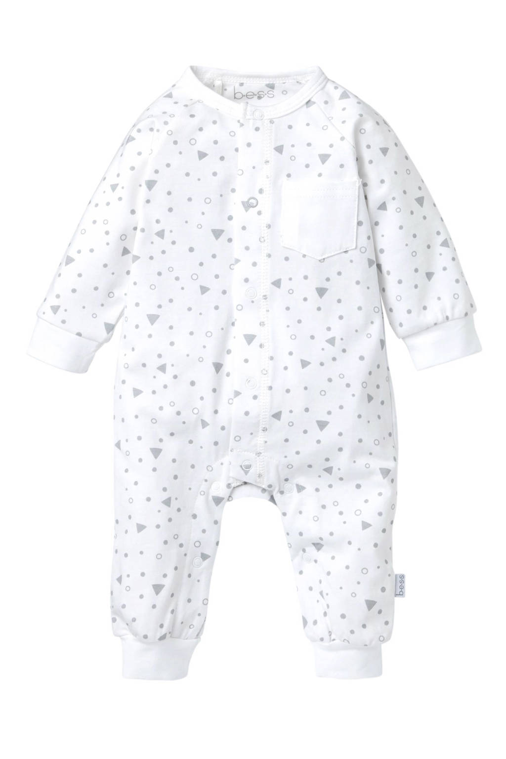 B.E.S.S baby newborn boxpak Triangle wit, Wit/grijs