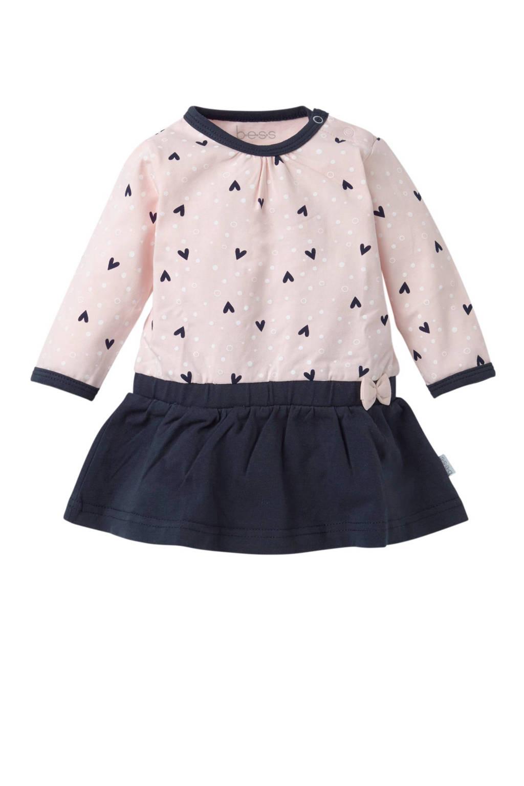 B.E.S.S baby newborn jurk Hearts met hartjes, Lichtroze/marine