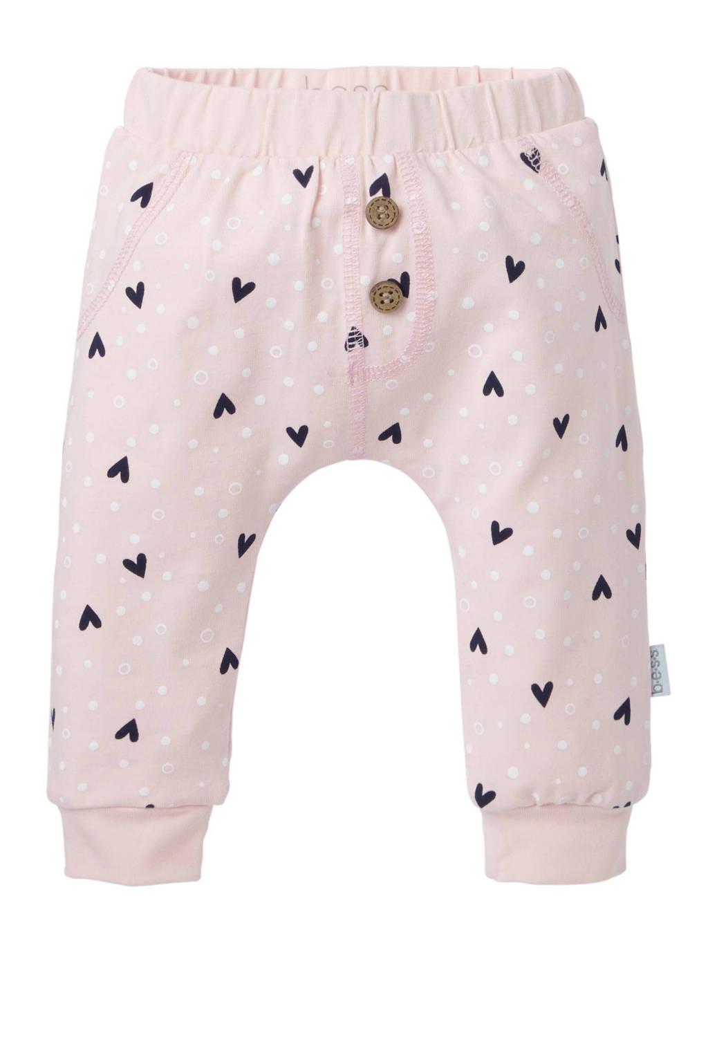B.E.S.S baby newborn broek Hearts met hartjes roze, Lichtroze/marine/wit