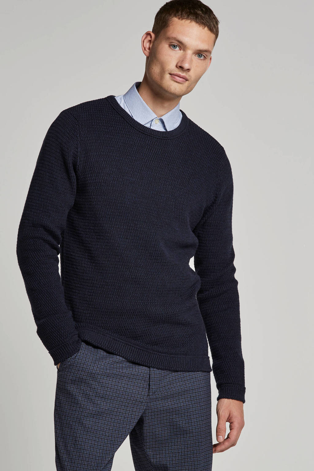 SELECTED HOMME trui donkerblauw, Donkerblauw