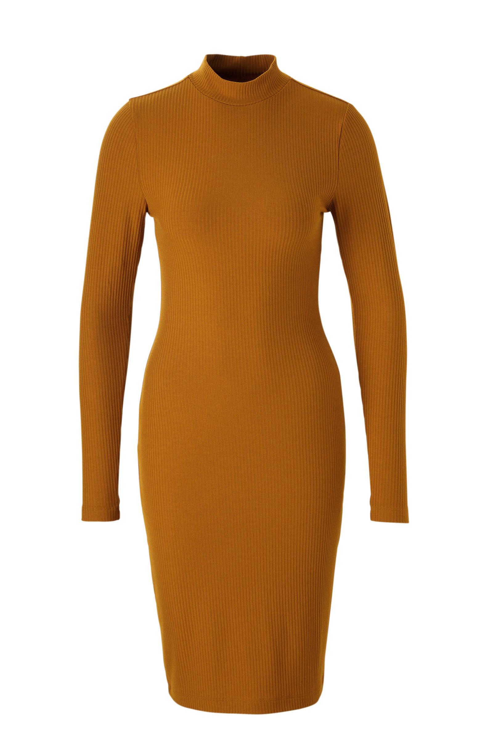 gebreide jurk okergeel