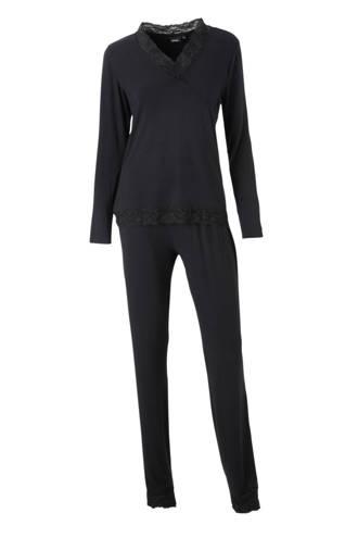 pyjama met kant zwart