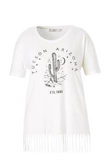 XL Clockhouse T-shirt met print en franjes gebroken wit