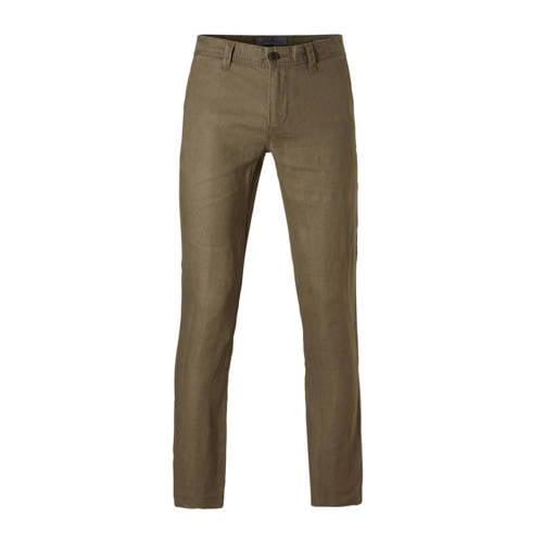 linnen straight fit broek donkergroen