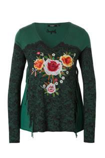 Desigual trui met borduursels groen (dames)