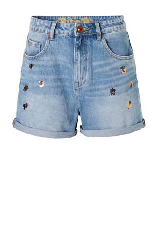 high waist jeans short met pailletten