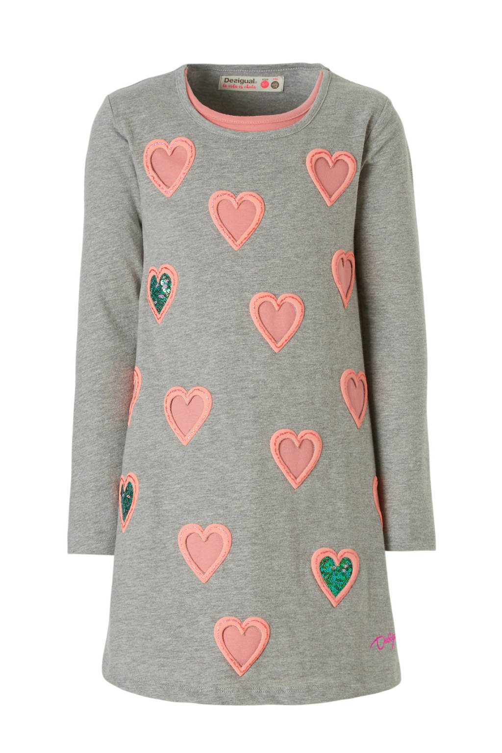 Desigual A-lijn jurk met hartjes print, Lichtgrijs
