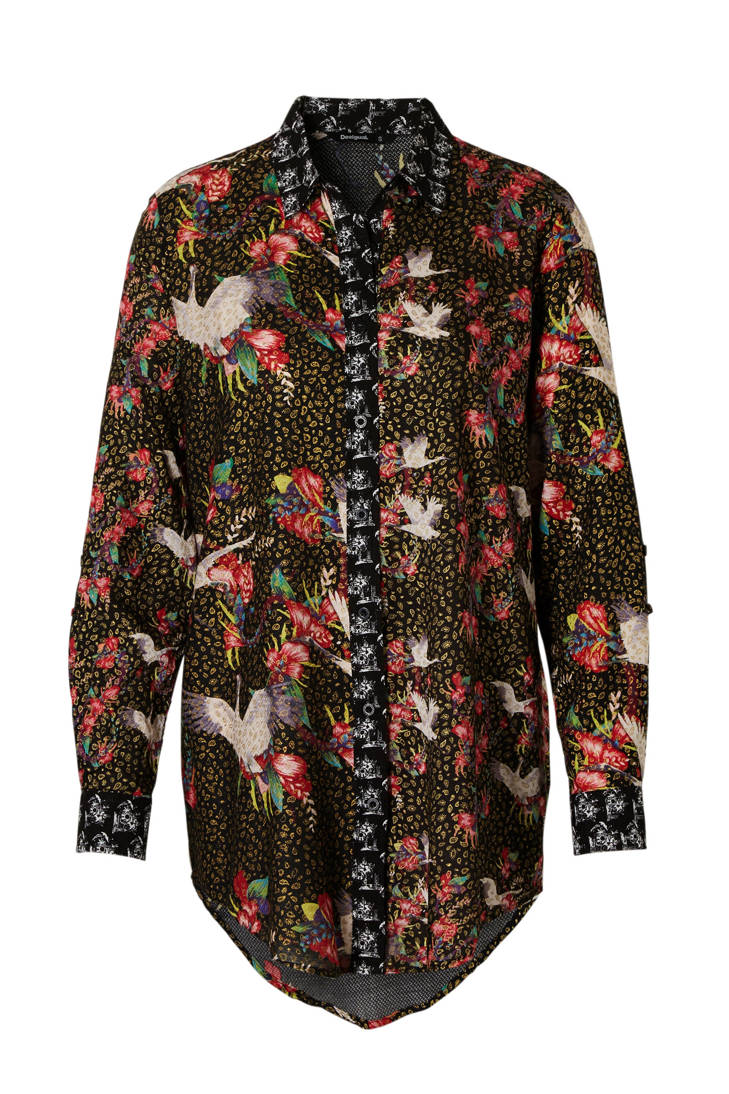 met over blouse zwart print all Desigual 185qHntww
