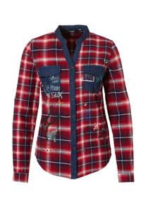 Desigual geruite blouse met borstzakken donkerrood (dames)