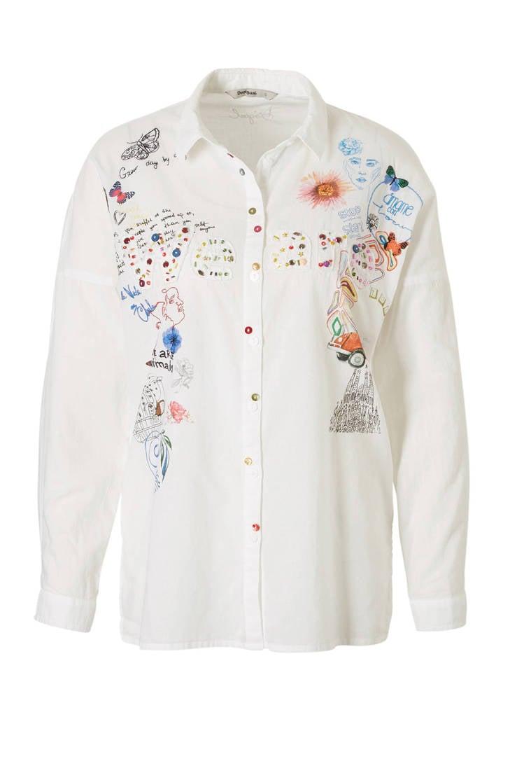 met printopdrik blouse Desigual en kraaltjes 810xRBnq