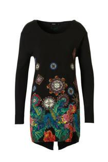 Desigual trui met bloemen zwart (dames)