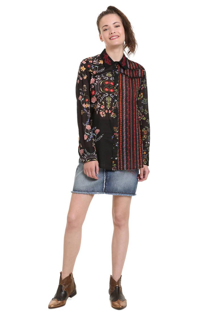 blouse Desigual zwart blouse Desigual zwart bloemprint bloemprint met met FBtw5qyyM