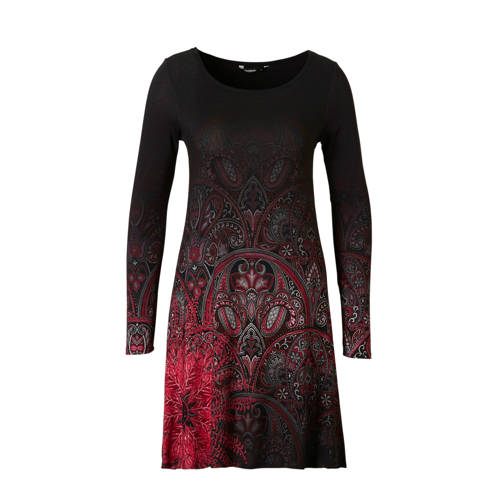jersey A-lijn jurk met paisley print zwart