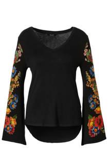 Desigual trui met gebreide mouwen zwart (dames)