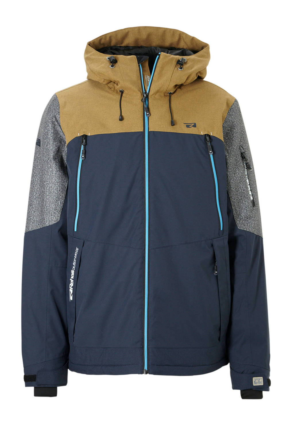 Rehall ski-jack Jaxon-R, Donkerblauw/grijs/bruin